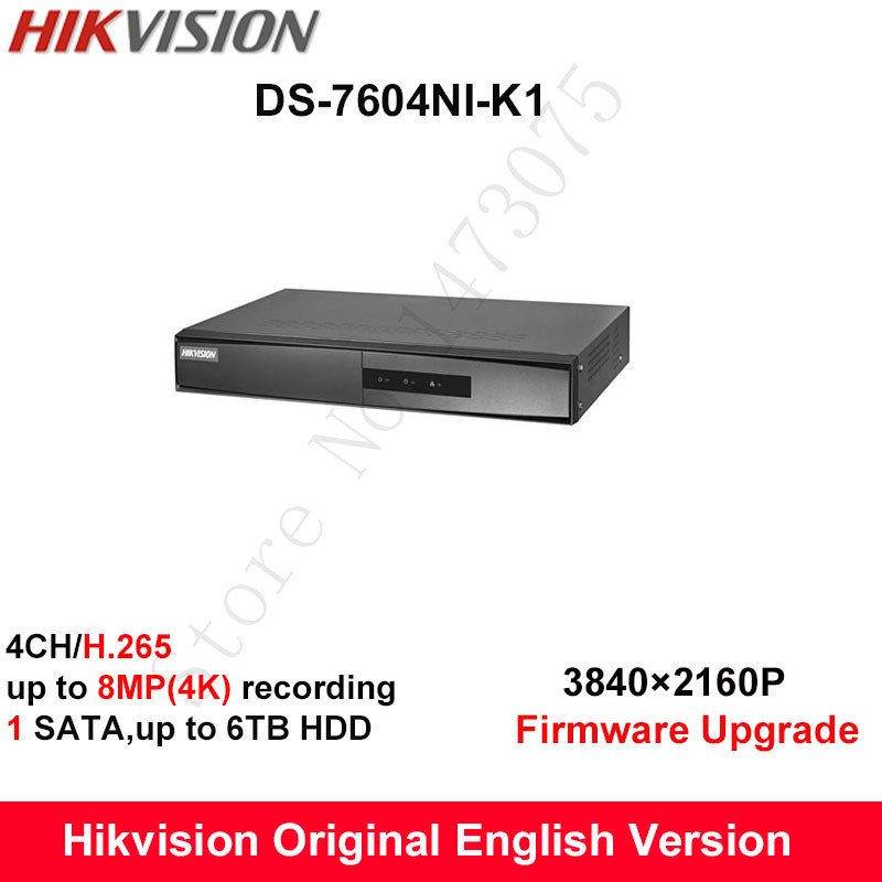 In Stock Hikvision Original English NVR DS 7604NI K1 Embedded Plug Play 4K NVR Support H