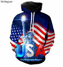 Hipster 3D Print American Flag USA Statue of Liberty Jacket Men/women Fashion Pullovers Hoodies Boys Streetwear Clothes Big Size
