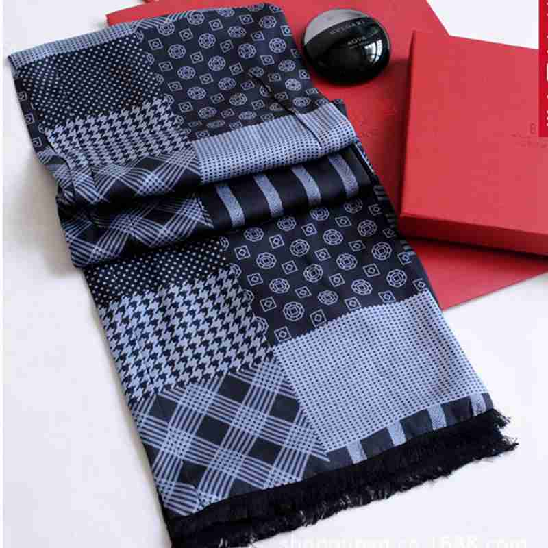 Fashion Cashmere Scarf Men Plaid Patchwork Echarpes Foulards Youth font b Tartan b font Double Layer