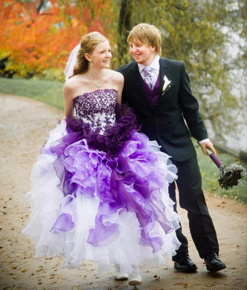 Ombre Wedding Gown: Vimans Charming Purple And White Ombre Ball Gown Wedding