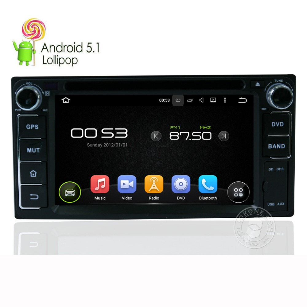 iokone brand android 5 1 system car dvd player for toyota. Black Bedroom Furniture Sets. Home Design Ideas