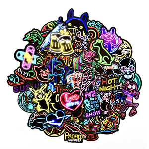 50 pcs Neon Stickers for Children Toy Phone Laptop Travel Luggage Car Styling Bike Motorcycle Cool Funny Sticker Bomb Decals(China)