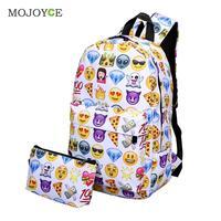 2Pcs New Fasion Emoticon Backpack Women 3D Nylon Cute Smiling Face Mochila Feminina Travel School