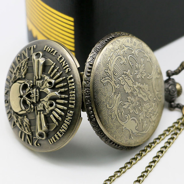 USA Theme Bronze Quartz Pocket Watch With Necklace Chain