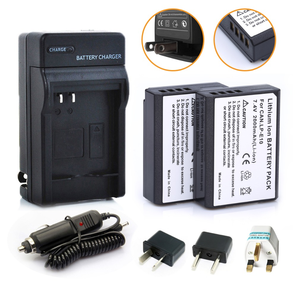 2Pcs Digital Camera LP-E10 LP E10 Rechargeble Battery pack + Charger Kit for Canon Camera 1100D Rebel T3 Kiss X50 fast shipping