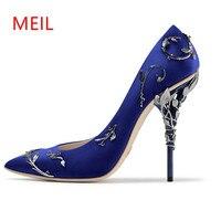 Meil обувь на каблуке роскошные женские 2017 металлическое золото Сексуальная Свадебная обувь на высоком каблуке розовые туфли женские туфли-л...