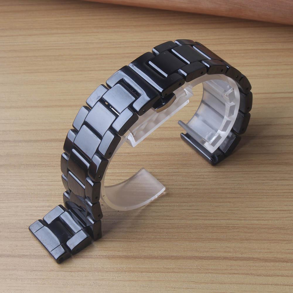 Gepolijst Keramische Horlogebanden 14mm 15mm 16mm 17mm 18mm 20mm 22mm Quick Release Lente Bars Polsbanden Armband Horloge Strap Black