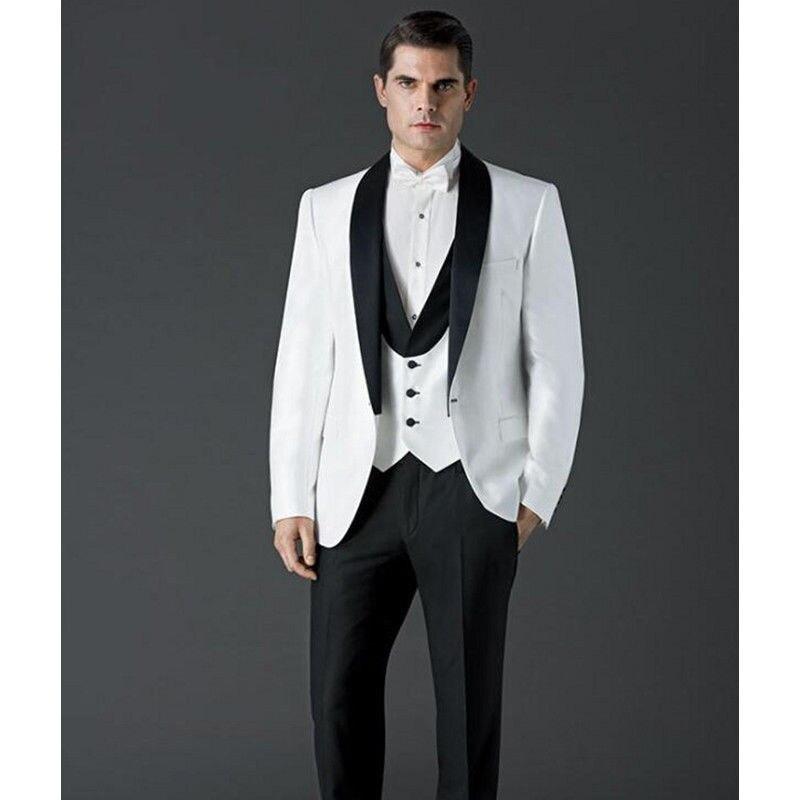 Мужские Классический смокинг для свадьбы Костюмы воротником костюмы высокого качества изготовление под заказ 2018 белое платье
