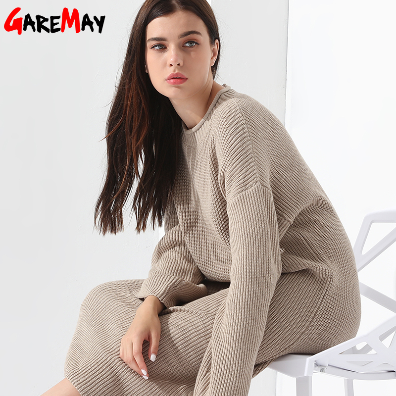 Lang sweater kjole Dame pullover løs strikket langærmet Vestidos - Dametøj