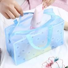 Portable Waterproof Transparent Makeup Bag  Fashion  Zipper Cosmetic Organizer Women Travel Toiletry Bag