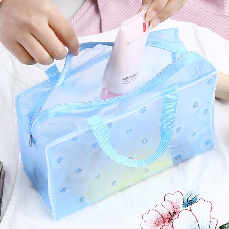 Portable Waterproof Transparent Makeup Bag Zipper Cosmetic Handbag Organizer Women Travel Toiletry Bag Bath Bag Beauty Bag