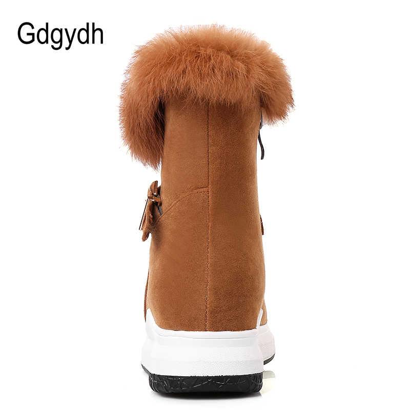 Gdgydh Daireler Kış Ayakkabı yarım çizmeler Kadınlar Için 100% Gerçek Kürk Sıcak Pamuk Bayanlar Ayakkabı 2018 Yeni Varış Düz Topuk Kar çizmeler Zip