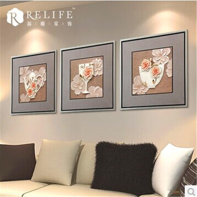 Fu Carved Furniture Modern Living Room Bedroom Sofa Background Decorative  Painting Paintings Framed Painting Three  Part 63