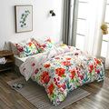Набор постельного белья из полиэстера в пасторальном стиле с ярким цветочным принтом  мягкие и удобные пододеяльники из 2/3 предметов