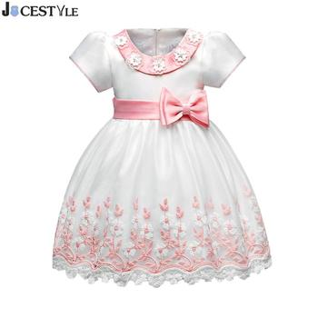 Baby Girls Princess Flower Dress Summer Tutu Wedding Birthday Party Dresses Embroidered Bowknot Belt Girls Dress Kids Costume