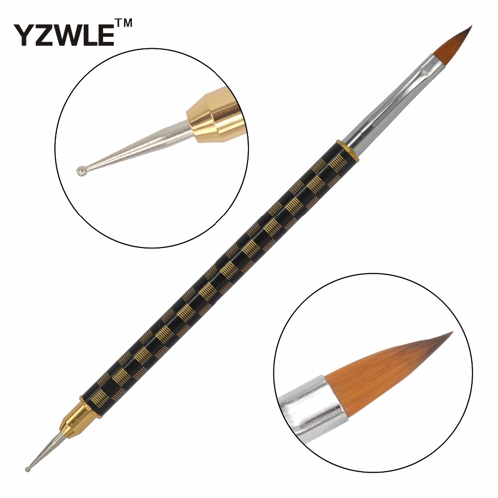 WUF 1 Pc High Quality Nail Pens / Copper Metal Handles Dual-use Manicure Dotting Pen / Professional Nail Art Brush 08