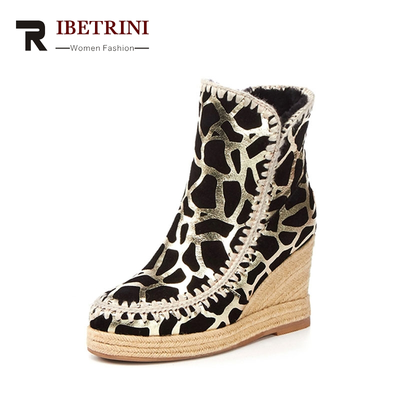 RIBETRINI 2017 Winter Fashion Cow Suede Animal Veins Ankle Snow Boots Platform High Wedges Warm Fur Women Shoes Large Size 33-43 qiyhong brand waterproof winter warm snow boots men cow split leather motorcycle ankle fashion high cut male casual clearance