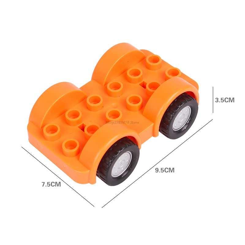 Legoing Duplo miasta DIY zabawki wyścigi samochodowe duże cząstki klocki akcesoria kompatybilny Duploed figurki zabawki dla dzieci prezent Legoings