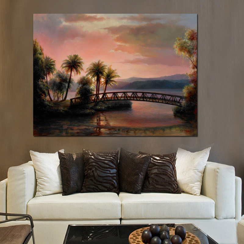 HD Print Poster Modern Sunset Beach Coconut Tree Seascape Bridge Abstract Oil Painting on Canvas Wall Picture for Living Room