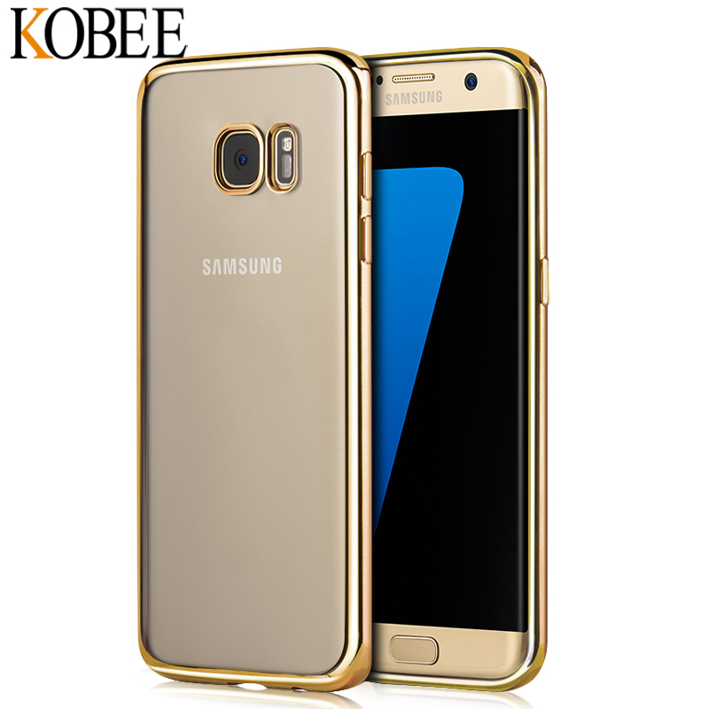luxury coque for samsung galaxy s7 s7 edge s6 s6 edge case clear transparent tpu back gold