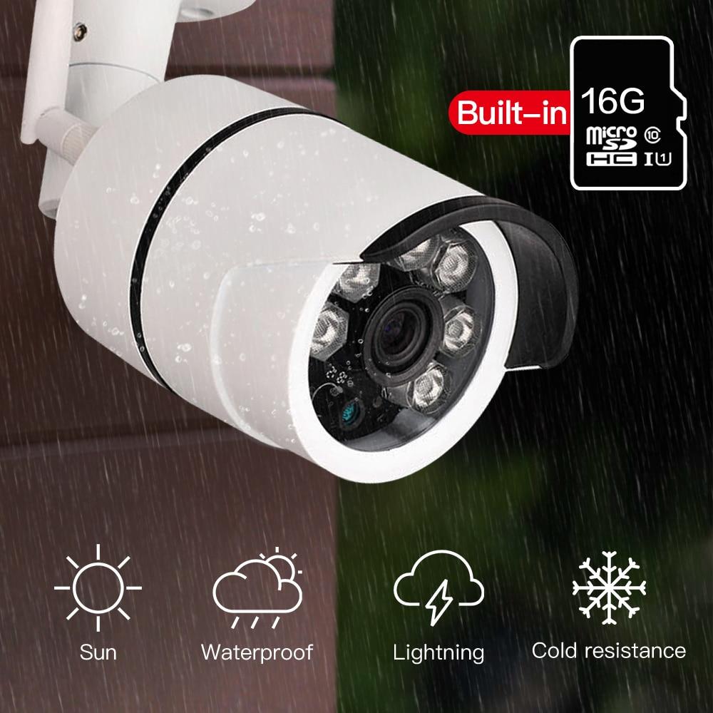 SDETER Impermeável Ao Ar Livre Bala IP Câmera de Vigilância Sem Fio Wi-fi Embutido 16G Cartão de Memória Da Câmera CCTV Câmera de Visão Noturna