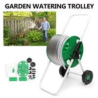 Garden Hose Portable Water Pipe Rack Garden Watering Trolley ABS Metal Car Washing Truck Hose Waterpipe Cart Tools 30x42x75cm