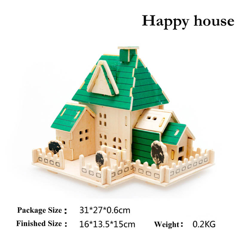 New Assembly DIY Education Toy 3D Wooden Model Puzzles Happy House Puzzles & Geduldspiele