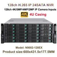 4U 24HDD Порты CCTV NVR H.265 128Ch 4 К/5MP/3MP/2MP/960 P 16Ch сигнал тревоги/1080 P воспроизведения Onvif P2P вид мобильного телефона сети Регистраторы