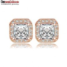 LZESHINE Brand Sparkling Square Stud Earring Rose Gold Color/Silver Color SWA Elements Austrian Crystals Earrings ER0192-A