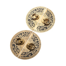 DRELD Chinese Antique Furniture Hardware Brass Round Vintage Pull Handle Knobs for Cabinet Cupboard Wooden Box