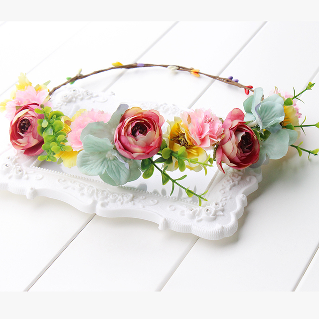 pink yellow green Flower Crown Headband Boho Hippie Festival Floral Head  Wreath Halo Floral Bridesmaid wreath aa8936576ed
