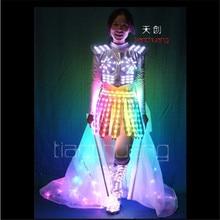 TC-132 Mujeres trajes de LED A Todo color de luz de colores partido de la falda de baile de salón desgaste manto vestido luminoso de programación RGB paño