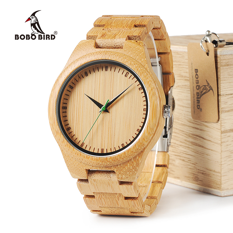 BOBO BIRD WG26 Brand Design Mens Bamboo Band Watch Green Second Pointer Quartz Watches for Men Women in Wood Gift Box купить недорого в Москве