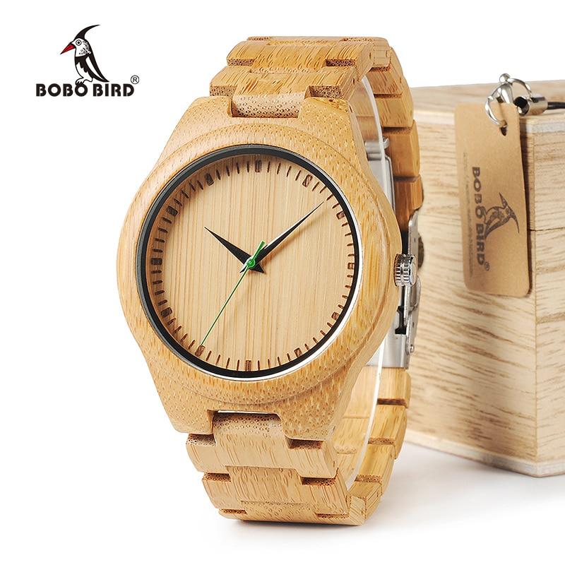 все цены на BOBO BIRD WG26 Brand Design Mens Bamboo Band Watch Green Second Pointer Quartz Watches for Men Women in Wood Gift Box