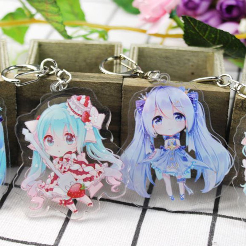 1 Pc Adorable Hatsune Miku Acrylic Keychain Anime Pendant Car Key Accessories Japanese KeyRing Pendant Figure Toy