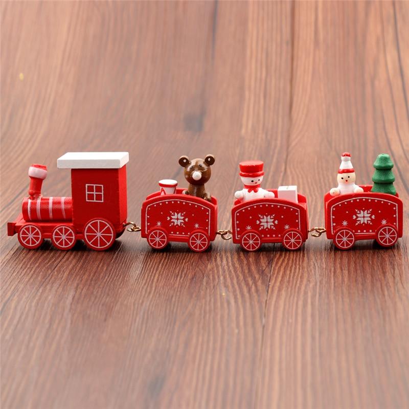 Christmas Mini Wood Christmas Train for Xmas Gift Ornament Decoration Kids SK