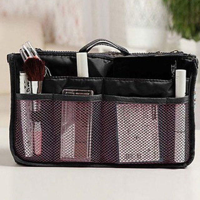 Organizer Insert Bag Women Nylon Travel Insert Organizer Handbag Purse Large liner Lady Makeup Cosmetic Bag Cheap Female Tote 5