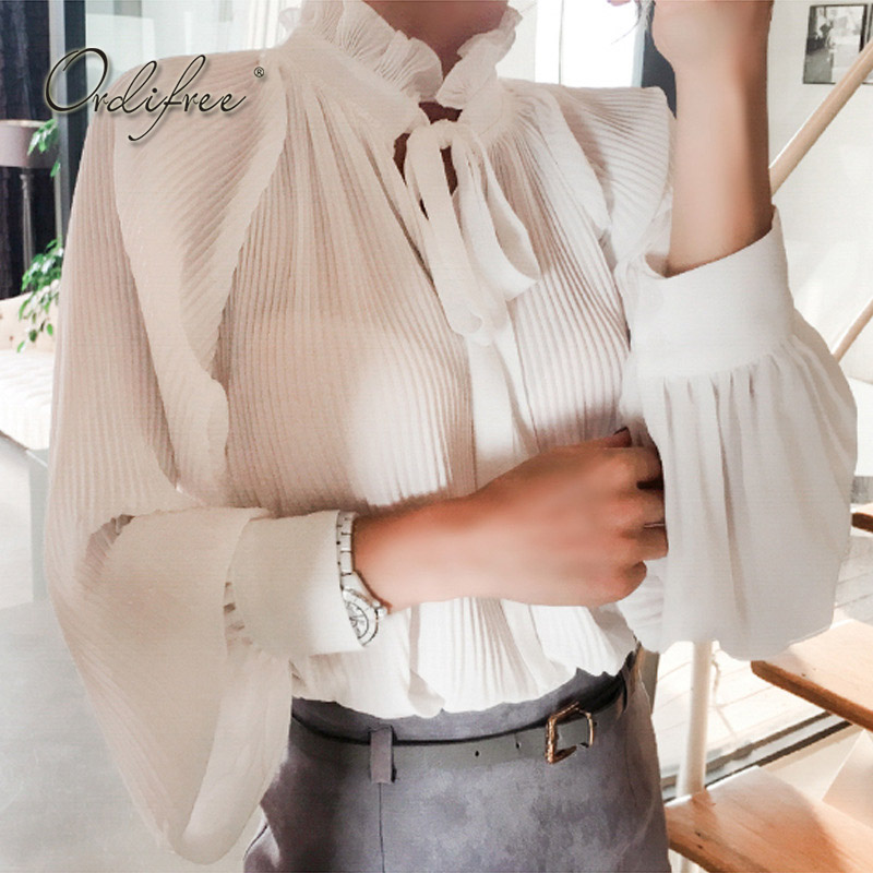 Ordifree 2018 Summer Women White Chiffon   Blouse     Shirt   Top Long Sleeve Ruffle Bow Lace Up Female   Blouse     Shirt   Chemise Femme