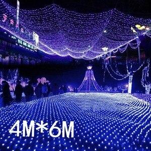 Image 5 - Wodoodporna 4m * 6m netto led świąteczna siatka świetlna led lampki siatkowe lampki ogrodowa nowy rok wesele