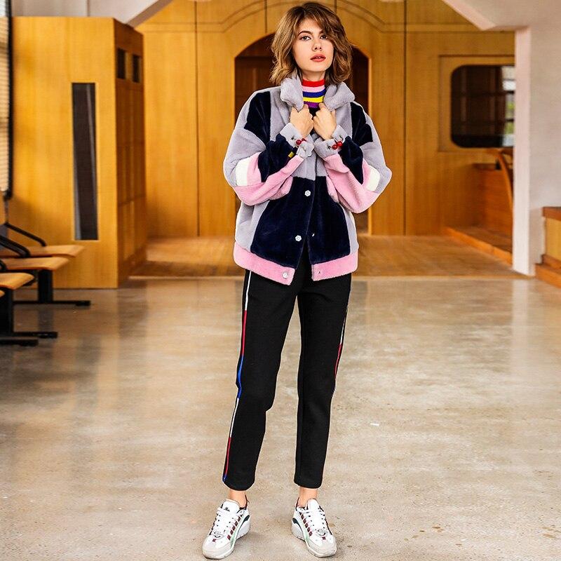 Femmes 2019 En Design Fourrure Flocage Revers Mignon Épissage Photo Y221 Veste Métal Dames Taille Mode Plus De Anneau Lâche Occasionnel Épais Nouveau Color Manteaux drpxwHnOr