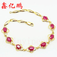 18 K Gold Inlaid Natural Burmese Ruby Bracelet