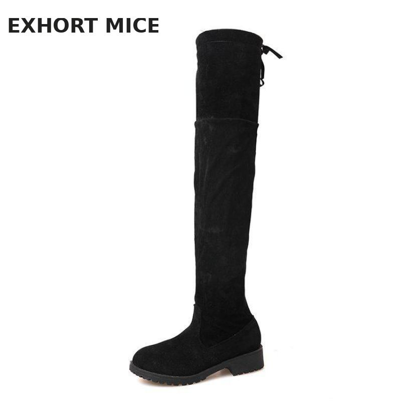 2018 Faux Suede Slim Boots Sexy Over The Knee High Women Snow Boots Women's Fashion Winter Thigh Boots Shoes Woman