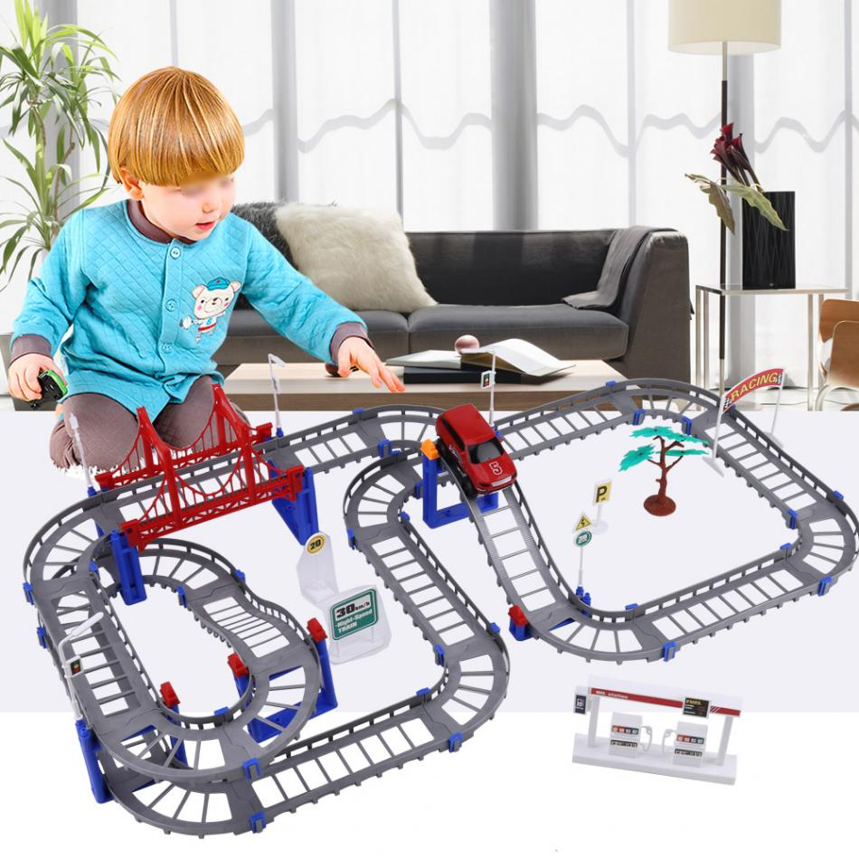 88pcs Multi-track Rail Car Toy Assembled Track Electric Move Automatically Car Toys Educational DIY Rail Toy for Kids Children