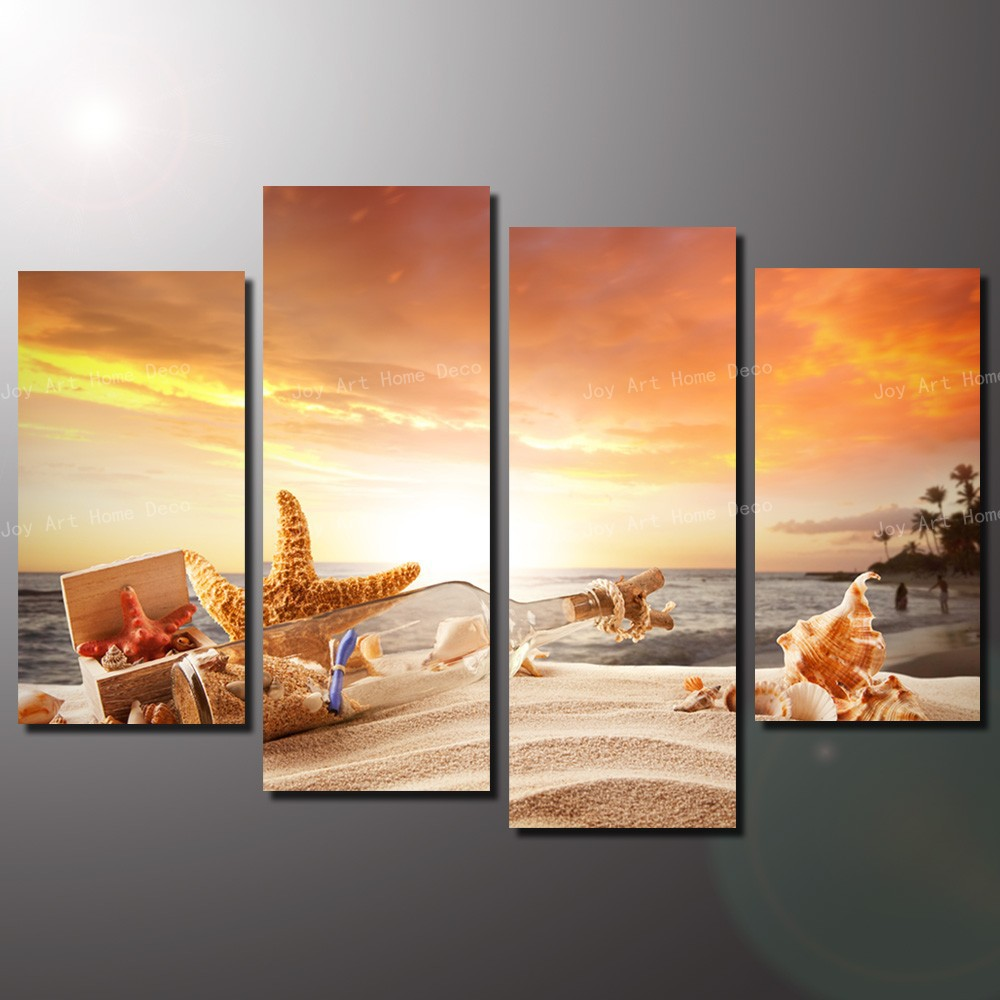4 Panel Cheap Modern Paintings Sunny Beach Modern Wall Art Print On Canvas  Poster And Print Unframed In Painting U0026 Calligraphy From Home U0026 Garden On  ...
