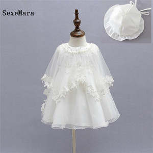 White 3 Pieces Baby Girl 1 Year Birthday Dresses Infant Princess Lace Christening Gown with Cape Toddler Bebes Baptism Clothes