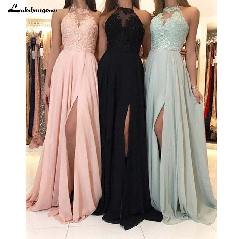 the latest low price cheapest US $106.26 23% OFF|Halter Neck Chiffon Bridesmaid Dresses Appliques A Line  Wedding Guest Dresses Simple Long vestido longo rosa-in Bridesmaid Dresses  ...