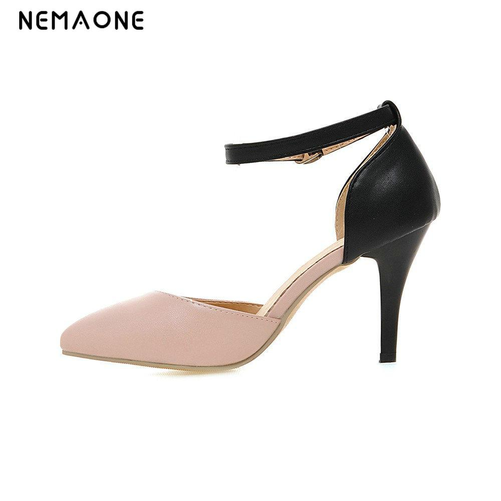NEMAONE 2017 Thin Heel Pumps Sexy High Heels Peep Toe Gladiator Party Shoes Zapatos black white pink Women Pumps Spring avvvxbw 2017 spring women s pumps high heels platform shoes diamond peep toe thin heels sexy women s wedding shoes pumps c372