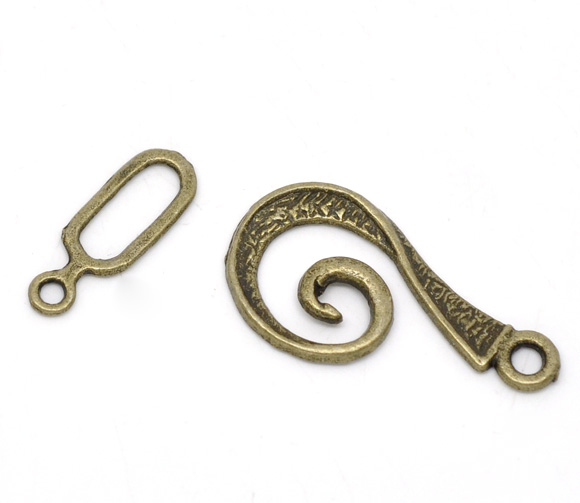 Zinc Metal Alloy Toggle Clasps Swirl Antique Bronze 26mm X13mm(1