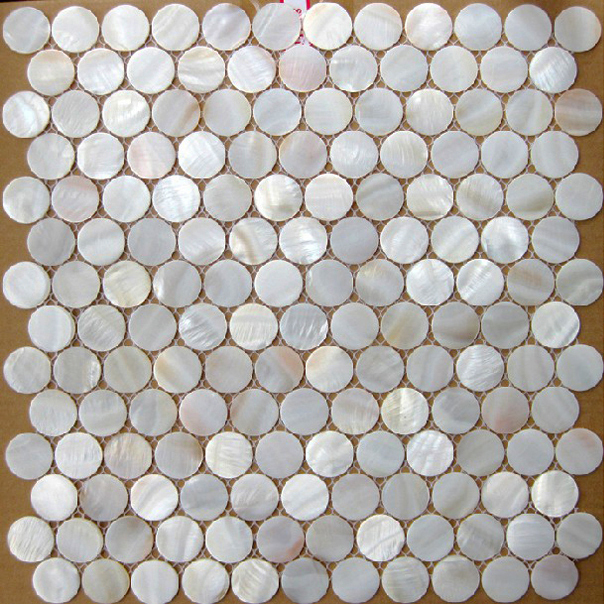 Mosaics Tile Mother Of Pearl Tiles Round White Bath Mirror Flooring Shell Kitchen Backsplash Fireplace