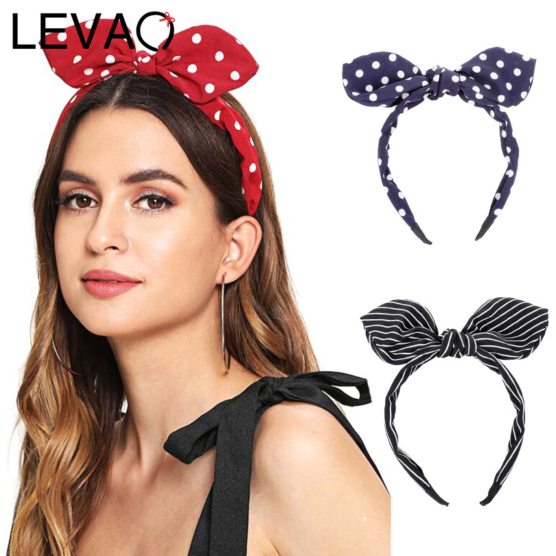 LEVAO Western Style Stripe Bow Plaid Bezel Turban Bunny Ears Women Polka Dot Headbands Hairbands Girls Hair Accessories   Headwear